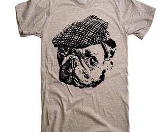 Pug in a Newsboy Cap T Shirt - Dog Lover Pug Life Pugs Not Drugs Funny Pug Tshirt - Men Women Kids Gift Ideas Present Pugs Cute Pug Face Tee