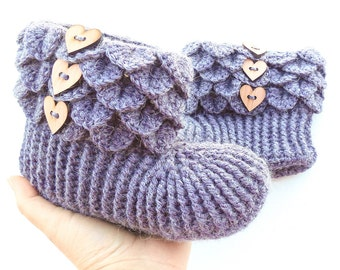 Crochet Dragon Scale Slippers - Adult Sizes - Alpaca Crocodile Stitch Boots - House Boots with Wood Buttons