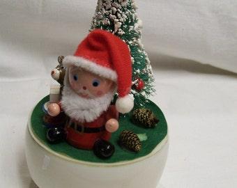 """Santa Music Box Vintage Mica Tree 7"""" Santa Claus is Coming to Town Wood Santa Claus Vintage Holiday Christmas Decor"""