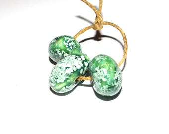 Ceramic Nugget Bead Set Stoneware Handmade Pottery Beads Rustic Aged Organic Teal