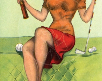 Or What Would You Rather Do - 10x16 Giclée Canvas Print of Vintage Pinup Postcard