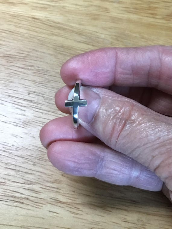 Sterling Silver Cross Ring, Sideways Cross, Witness Jewelry, Christian Jewelry, Metalcraft, Metalsmith, Handcrafted, Silver Jewelry, For Her