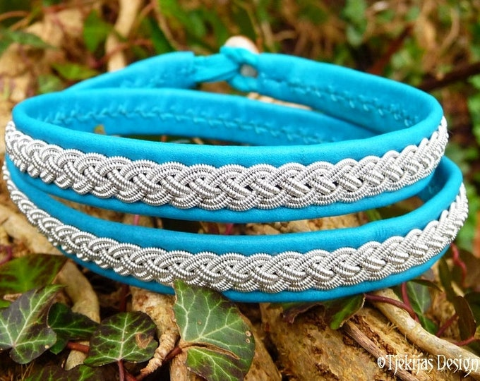 Viking Leather Wrap Bracelet ASGARD Handmade Women and Men's Bracelet in Turquoise Reindeer with Pewter Braid and Antler Closure