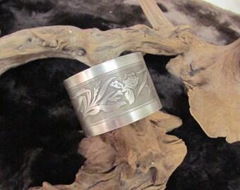 Repurposed Metal Cuff Bracelet, Iris Design, Floral Design
