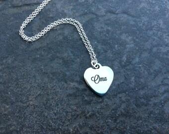 Oma necklace or bangle bracelet German Grandmother bracelet or necklace Sterling Silver chain Adjustable bangle