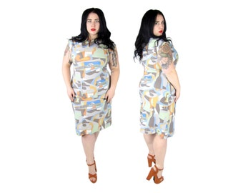 Plus Size Dress / Vintage 1960's Abstract Print Body Con Dress / Size XL