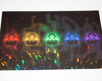 Mario Mushrooms x Tron - 8x5 Holographic Print [ Mario / Tron / Space Invaders / Fan Art ]