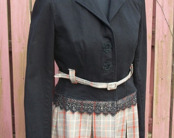 Black Denim Jacket with Plaid Kilt Ruffle & Belt / Altered Upcycled Fashion / SMALL