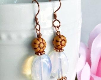 bead earrings, opalite gemstone jewelry, bohemian earrings, boho chic, dangle earrings, fancy earrings, pretty and sweet