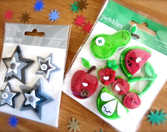 Fun Felt Fruit and Stars Stickers-2 Sheets-3D Summer Embellishments-Felt Gray & Black Stars, Red Cherries, Apple, Berry, Green Pear Stickers