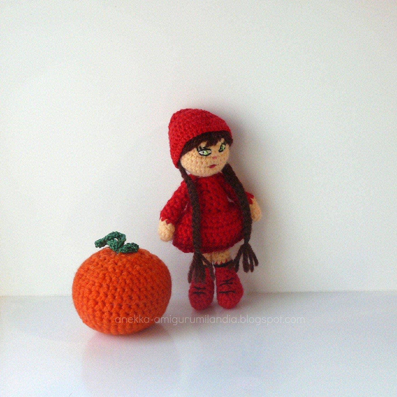 Amigurumi Small Doll : Amigurumi crochet doll Little Red Riding Hood wool toy