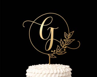 Single Letter Monogram Wedding Cake Topper with your Initial - Fairytale Collection