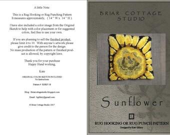 RUG HOOKING PATTERN or Punch rug - Sunflower (rprh 18)