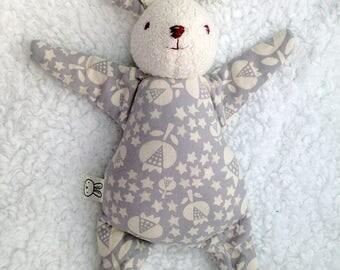 light purple bunny rabbit toy, rag doll, stuffed animal, baby shower gift