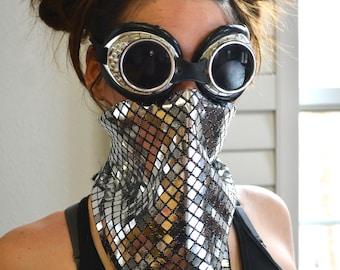 Shiny Silver Face Mask/ Reflective Face Mask/ Disco Ball Face Mask/ Burning Man Dust Mask/ Face Mask/ Festival Mask