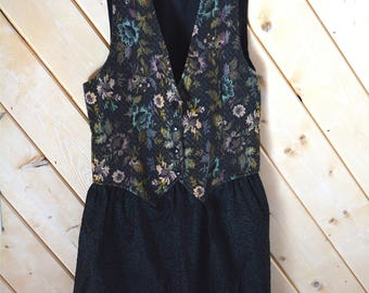 Floral Vest Dress/Size M/ Black Dress/ Upcycled Dress/ Recycled Dress/ Eco Clothing