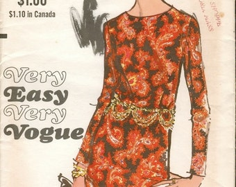 Very Easy Vintage 1960s Vogue 7613 Slim Shift Dress with Long Sleeves Sewing Pattern B36