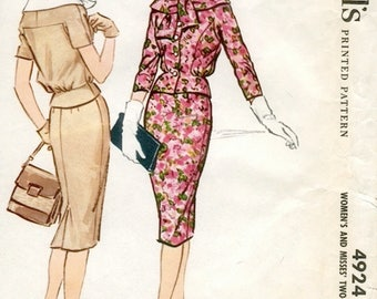 Fab Vintage 1950s McCall's 4924 Two-Piece Slim Blouson Tie-Collar Suit Dress Sewing Pattern B32 W25