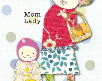 Mom Lady - postcard of one of my Paper Ladies