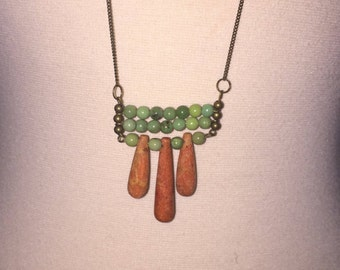 "Unique Jade and Coral ""Peas and Carrots"" Boho Necklace On Long Chain"