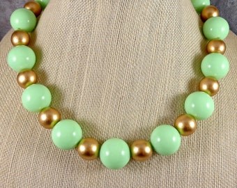 Statement Necklace, Green, Gold, Wood Necklace, Gumball Necklace, Chunky Necklace, Big Necklace, Round Bead Necklace, Green Necklace