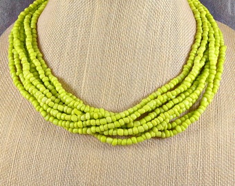 Seed Bead Necklace, Statement Necklace, Green, Boho, Multistrand Necklace, Chunky Necklace, Green Necklace, Beaded Necklace, Lime Green