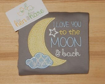 I Love You to the Moon and Back Baby shower gift present onesie shirt romper personalized custom made embroidery applique monogram name