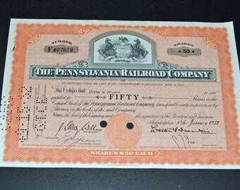 Stock The Pennsylvania Railroad Company 1952 Very fine condition