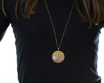 Trees at Sunset Wood Pendant Necklace // Antique Brass Long Chain // Gifts for Her