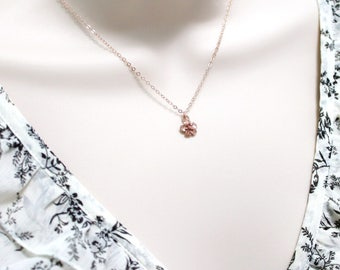 Rose Gold Cherry Blossom Necklace ~ Dainty Necklace ~ Tiny Flower Charm ~ Small Pendant ~ Goldfilled ~ Delicate Nature Jewelry ~ Women Gift