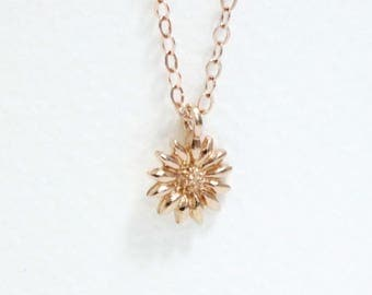 Tiny Rose Gold Sunflower Necklace, Petite Flower Pendant, Dainy Necklace, Small Charm, Nature Necklace, Simple Rose Goldfilled Jewelry Women