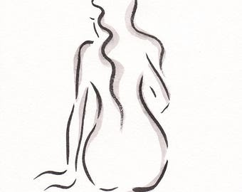 Original ink sketch. Female figure brush drawing. Black and white art for bedroom. Sitting nude from back.