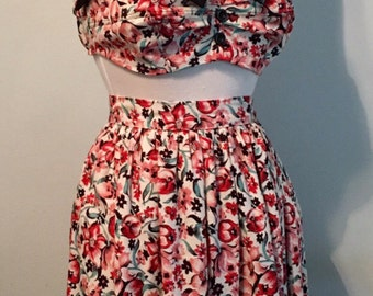 Repro 1950's Sun Top with Matching Skirt Playsuit Cotton Floral Bra Top