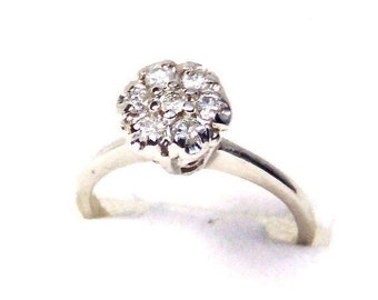 Sale! Diamond Cluster Engagement 14K White Gold Engagement Ring, Vintage, White Gold, Wedding, Cocktail