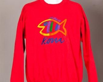 90s Sweatshirt Red Colorful Fish - KONA