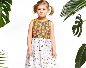 Handmade girls' physallis and chestnut animal dress, girls' summer dress