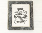 "10.5x12.5"" Wind Beneath My Wings - Bette Midler Lyrics - Gift for Mom or Dad - Gift for Hero - Barnwood & Cotton Canvas - Reclaimed Wood"