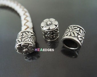 Silver End Cap without Loop and Hole 6.5mm - 6pcs Antique Silver Flower Flat Head End Caps 10.5mm x 9.5mm ( Inside 6.5mm Diameter )