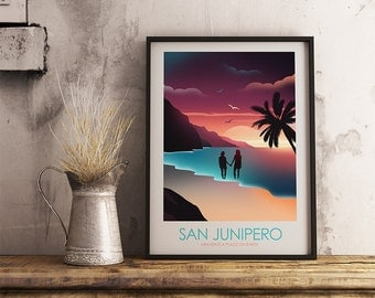 Black Mirror San Junipero Inspired Art Print Movie Poster - Minimalist, Graphic Design, Sci fi Art Print, Movie Poster, Wall Art, Minimalist