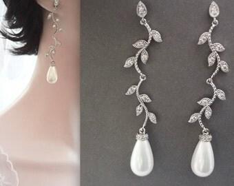Pearl earrings, Long pearl drop earrings, Leaves and branches pearl earrings, Spring, Summer wedding earrings, Spring summer wedding jewelry