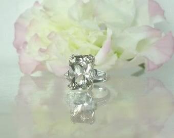 Large Gemstone Engagement Ring, Emerald Cut Ring, Emerald Cut Sterling Ring, Large Gemstone Ring, White Gemstone Ring, Diamond Alternative