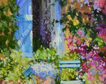 Art Print of BLUE SHUTTERS purple and ochre, sunlit courtyard, dappled light, French shutters