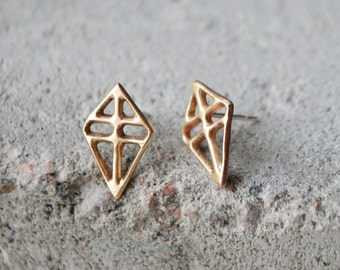 RUUTI Earrings Bronze or Sterling silver // dark grey ox // recycled silver hand formed studs