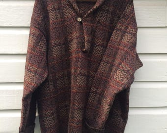 Vintage Norm Thompson Henley Sweater L 42 - Tweed Plaid Multi-Color - Roll Collar - Portland Oregon