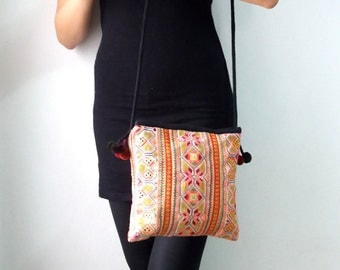 Vintage Hmong Embroidered Cross Stitch Boho Small Bag