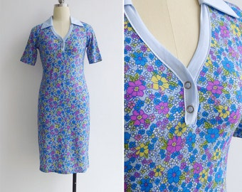 15% Code - MAR15OFF - Vintage 90's Does 70's Blue Flower Power Polo Dress XS or S