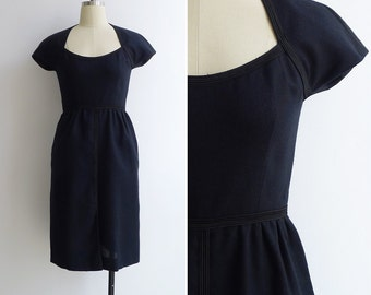 Vintage 50's 'MOLLIE PARNIS' Black Bombshell Wiggle Dress XS or S