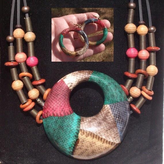 SALE Colo Snake Skin Necklace,  FREE Giant Matching Earrings, OOAK Big Bold Bodacious Vintage Neck Art Piece/ Belt/ Hatband. Unisex, Brass,