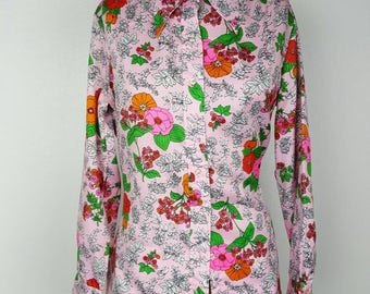 Gaylord 60s Neon Flower Button Down - Large 42