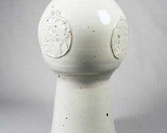 Tall Studio pottery vase, impressive bulbous form, appliqué design, mystery mark
